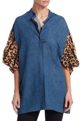 Junya Watanabe Faux Fur-Sleeve Denim Top