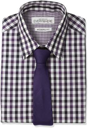 Nick Graham Everywhere Men's Gingham Dress Shirt with Tie