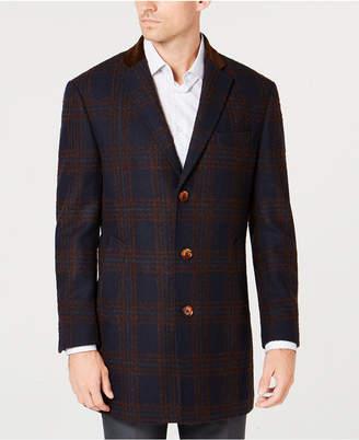 Tallia Men's Big & Tall Slim-Fit Navy/Brown Windowpane Plaid Overcoat