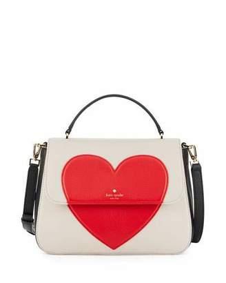 Kate Spade New York Be Mine Alexya Heart Satchel Bag, Crisp Linen/Black/Rooster Red $398 thestylecure.com