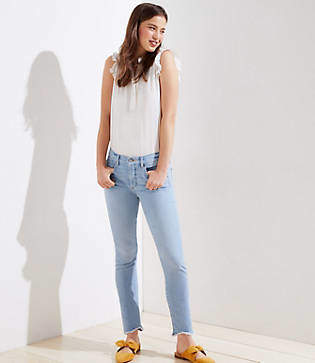 LOFT Petite Modern Soft Slim Pocket Chewed Hem Skinny Crop Jeans in Staple Light Indigo Wash