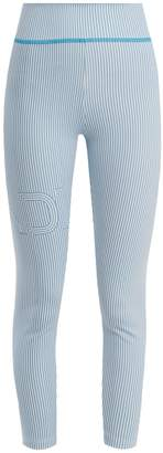 Fendi Striped logo-print performance leggings