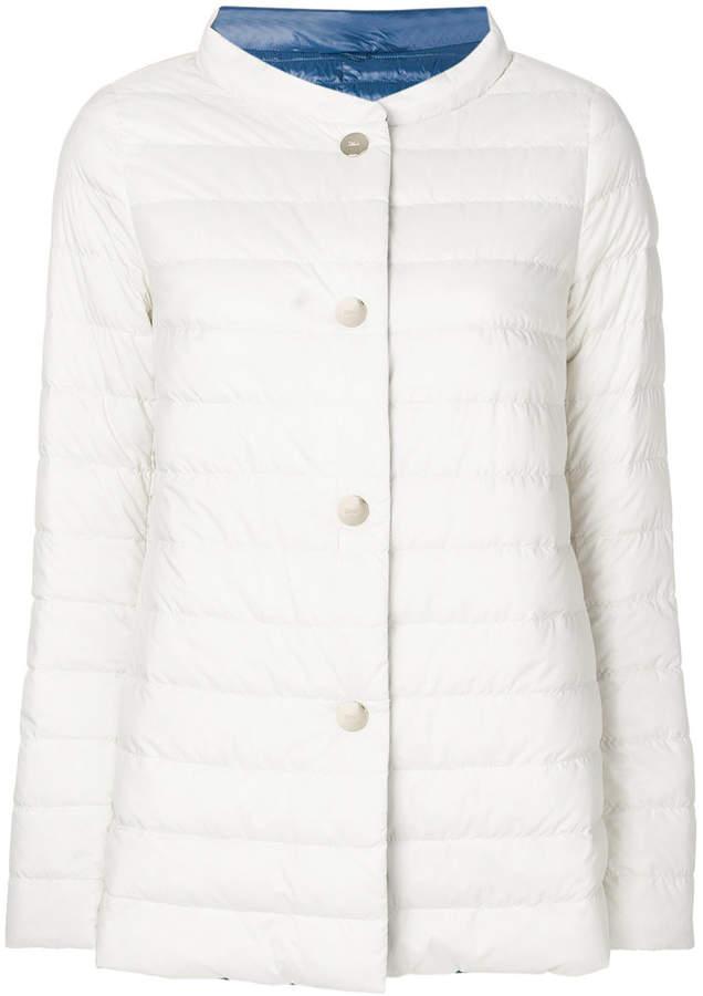collarless down jacket