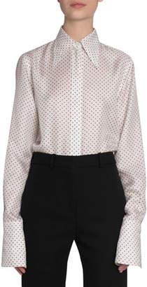 Victoria Beckham Polka-Dot Silk Button-Front Shirt