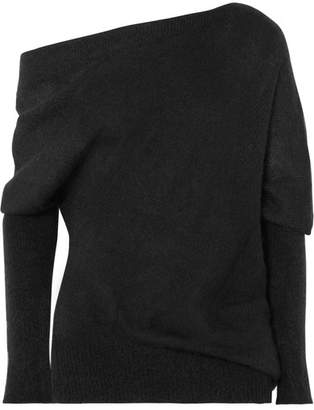 Tom Ford One-shoulder Mohair And Silk-blend Sweater - Black