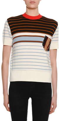 Marni Crewneck Short-Sleeve Striped Wool Knit Tee w/ Patch Pocket Detail