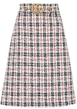 Gucci Plaid cotton-blend tweed skirt