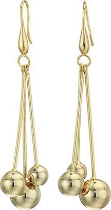 """Kenneth Jay Lane Women's 3"""" Bar with Small To Large Gold Balls Drop Fishhook Earrings"""
