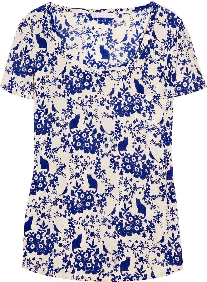 Paul & Joe Sister Okineko printed silk T-shirt