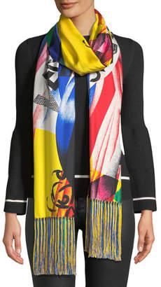 Versace Clash-Print Silk Scarf w/ Tassel Ends