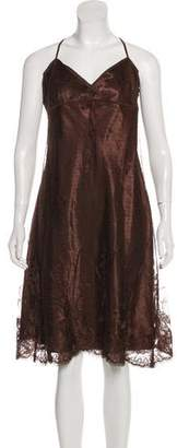 Max Studio Lace Accented Mesh Dress