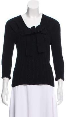 Oscar de la Renta Cashmere Bow-Accented Sweater