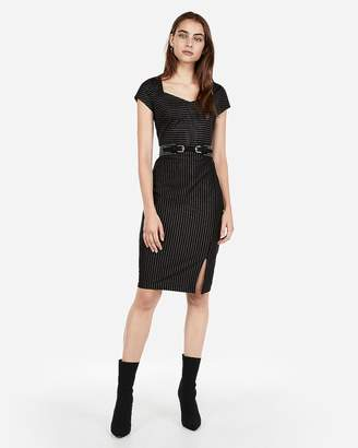Express Stripe Sweetheart Neck Sheath Dress