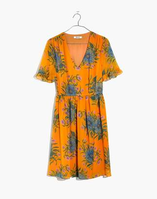 Madewell Sweetgrass Ruffle-Sleeve Dress in Painted Blooms