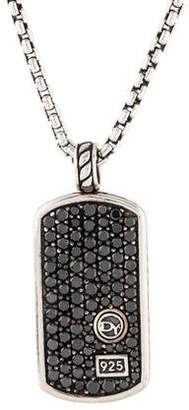 David Yurman Black Diamond Dog Tag Pendant Necklace