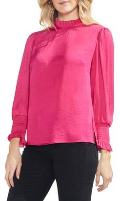 Vince Camuto Ruffle Neck Satin Blouse