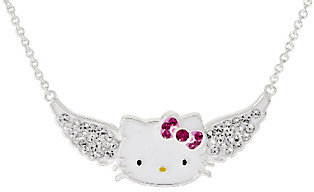 Hello Kitty Crystal Pave Angel Wing Station Necklace $17.60 thestylecure.com