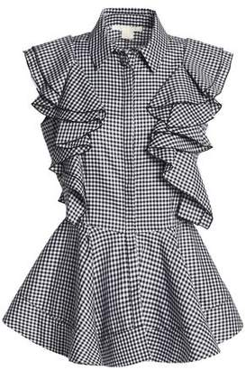 Antonio Berardi Ruffled Gingham Cotton Peplum Top