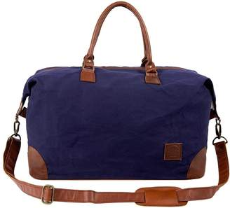 MAHI Leather - Classic Travel Bag In Navy Canvas & Brown Leather