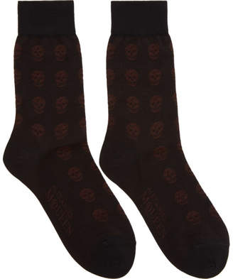Alexander McQueen Black and Brown Short Skull Socks