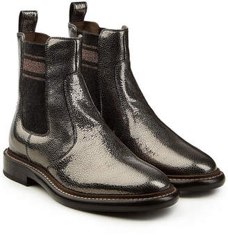 Brunello Cucinelli Metallic Leather Ankle Boots