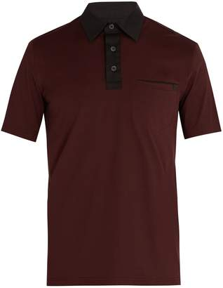 Prada Contrast-collar cotton-blend polo shirt