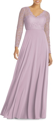 Dessy Collection Long Sleeve Lace & Chiffon Gown