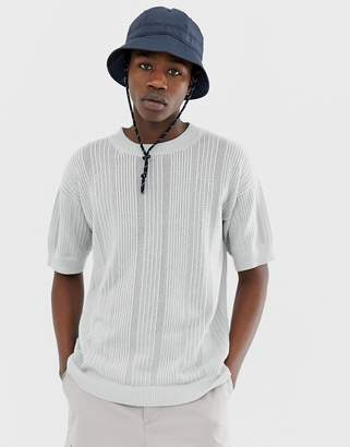 Asos dropped shoulder short sleeve sweater in fine stripe