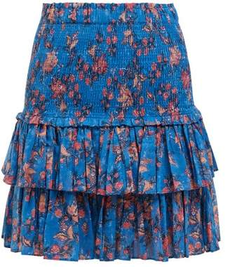 Etoile Isabel Marant Naomi Shirred Tiered Cotton Mini Skirt - Womens - Blue