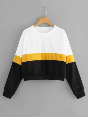 Shein Block Stripe Crop Sweatshirt