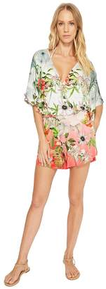 Green Dragon Hibiscus Sublime Eliza Kimono Sleeve Romper Women's Jumpsuit & Rompers One Piece