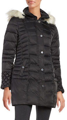 Betsey Johnson Faux Fur-Trimmed Puffer Coat $200 thestylecure.com
