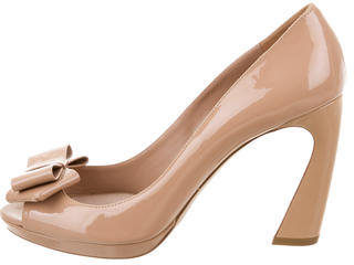 Miu Miu Miu Miu Peep-Toe Bow Pumps