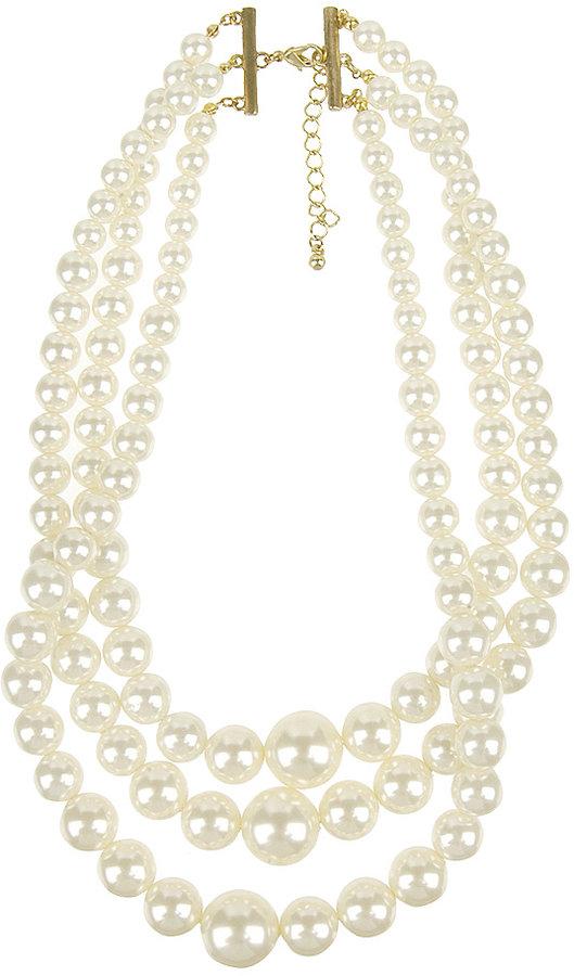 Tri Strand Pearl Necklace