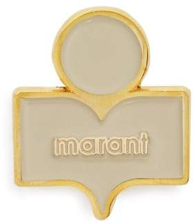 Isabel Marant Logo Embellished Gold Tone Brass Brooch - Womens - Ecru