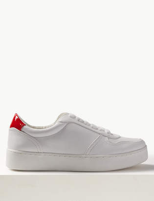 Marks and Spencer Extra Wide Fit Back Detail Lace-up Trainers