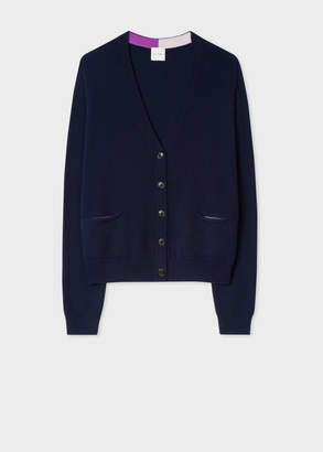 Paul Smith Women's Navy Cashmere Cardigan With Relaxed Pockets