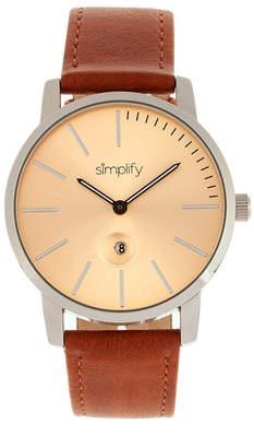 Simplify Quartz The 4700 Silver Case, Genuine Camel Leather Watch 40mm