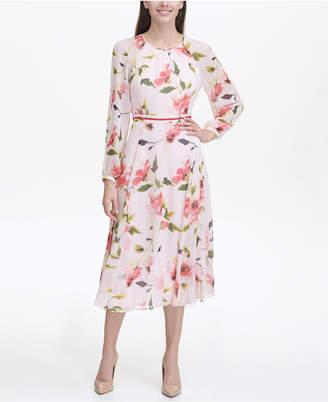 b289275d206 Tommy Hilfiger Corsage Print Chiffon Midi Dress