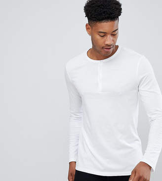 Asos DESIGN Tall long sleeve t-shirt with grandad neck in white
