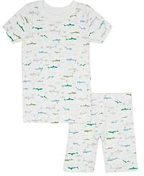 Skylar Luna Kids' Shark-Print Organic Cotton Pajama Set-Cream