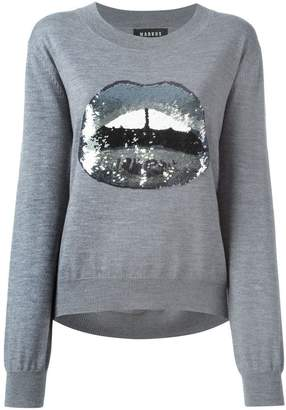 Markus Lupfer sequinned lips appliqué sweater