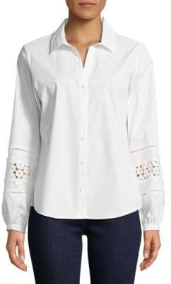 Button-Down Lace Sleeve Shirt