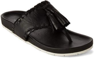 J/Slides Black Nigel Tassel Leather Flip Flops