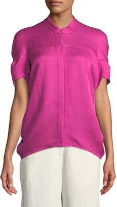 Zero Maria Cornejo Concave Short-Sleeve Draped Twill Woven Shirt