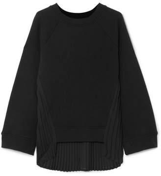 MM6 MAISON MARGIELA Pleated Crepe-paneled Cotton-terry Sweatshirt - Black