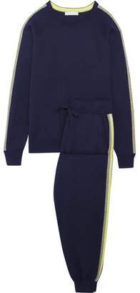 Olivia von Halle - New York Striped Silk And Cashmere-blend Sweatshirt And Track Pants Set - Navy $1,235 thestylecure.com