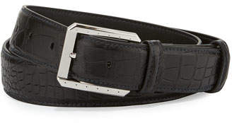Stefano Ricci Crocodile Belt w/Palladium Buckle, Black