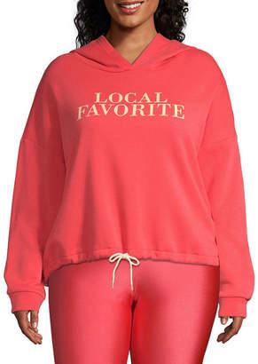 Flirtitude Womens Long Sleeve Knit Hoodie-Juniors Plus
