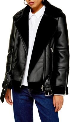 Topshop Cora Faux Shearling Biker Jacket